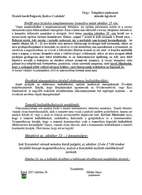 Települési tájékoztató 2017.10.20