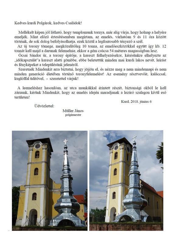 Templomtorony visszahelyezése 20180607