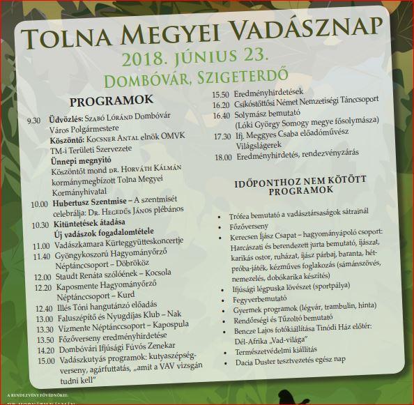 Tolna Megyei Vadásznap plakát
