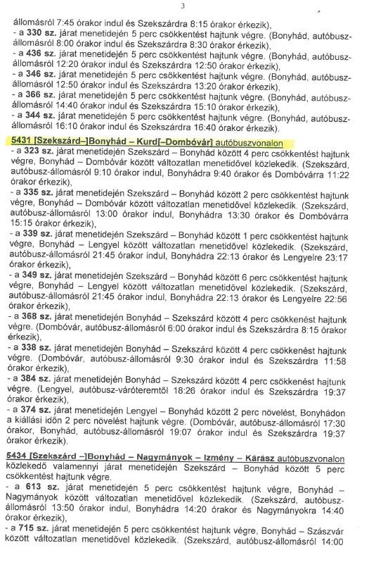 Busz menetrend módosítás