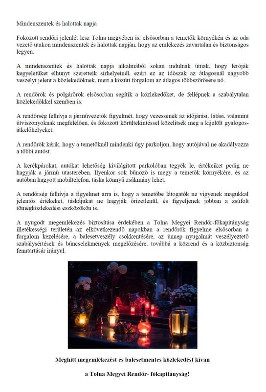 Bűnmegelőzési hírvelél-Mindenszentek 2018