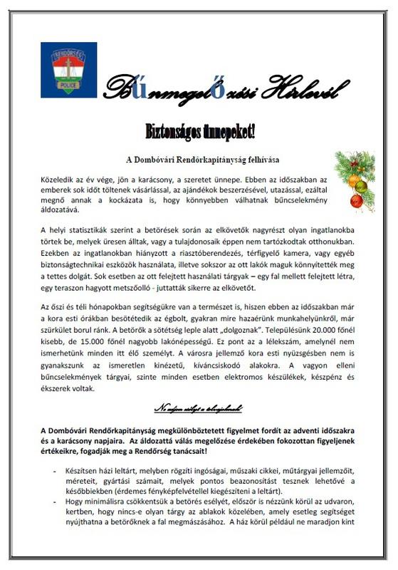 Dombóvári Rendőrkapitányság hírlevél 2018 karácsony/1