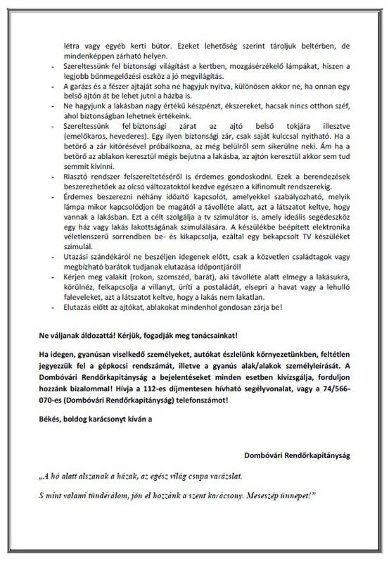 Dombóvári Rendőrkapitányság hírlevél 2018 karácsony/2