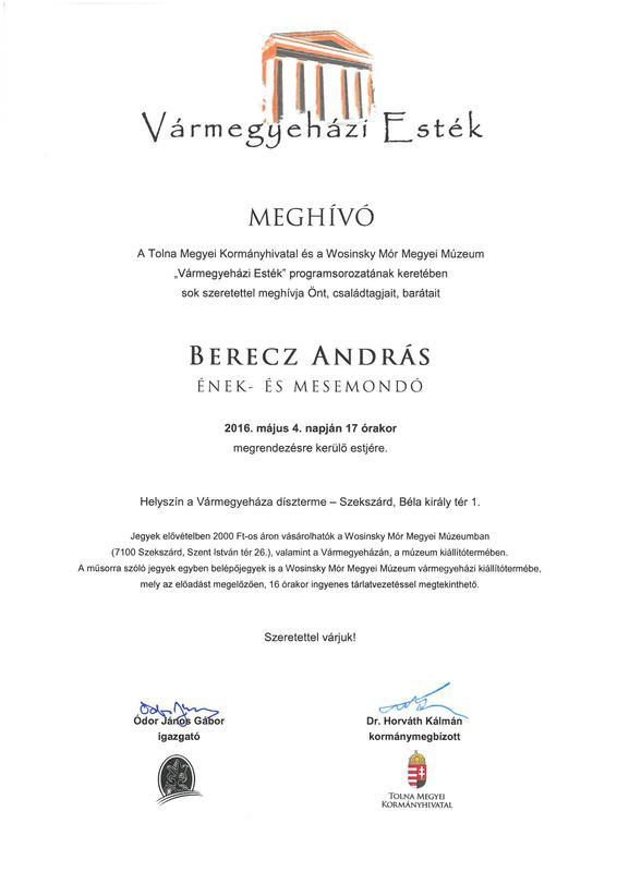 Vármegyegázi Esték - Berecz András