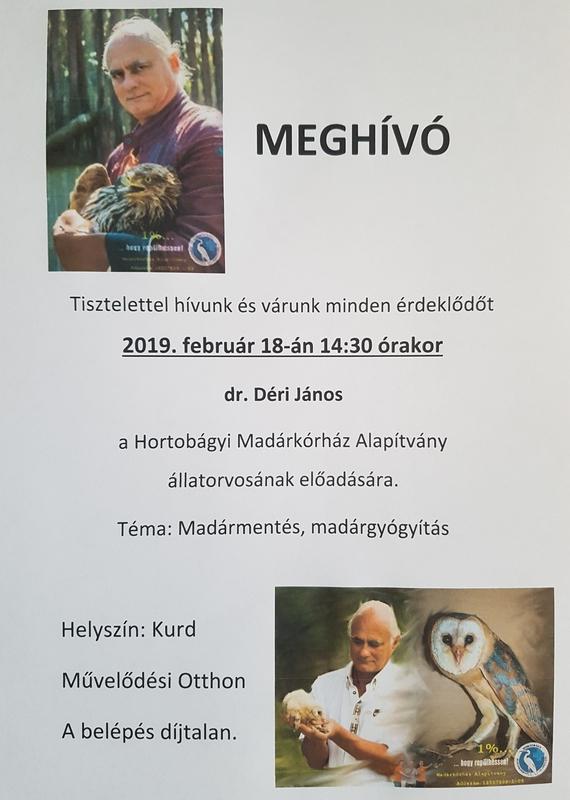 Meghívó dr. Déri János előadására