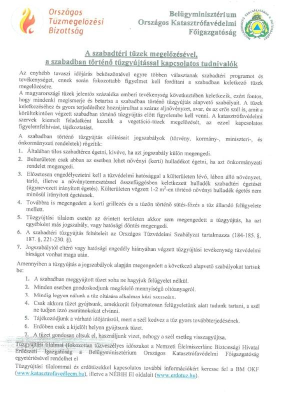Kat. véd. tájékoztató szabadtéri tűzgyújtásról