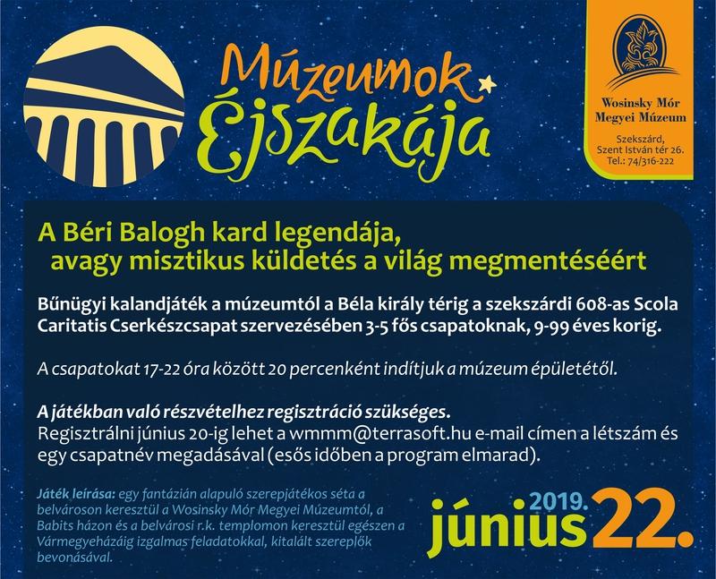Múzeumok Éjszakája 2019. 06. 22. 2