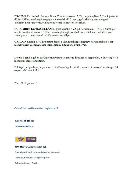 MÁV vegyszeres gyomirtás 2019.09-2