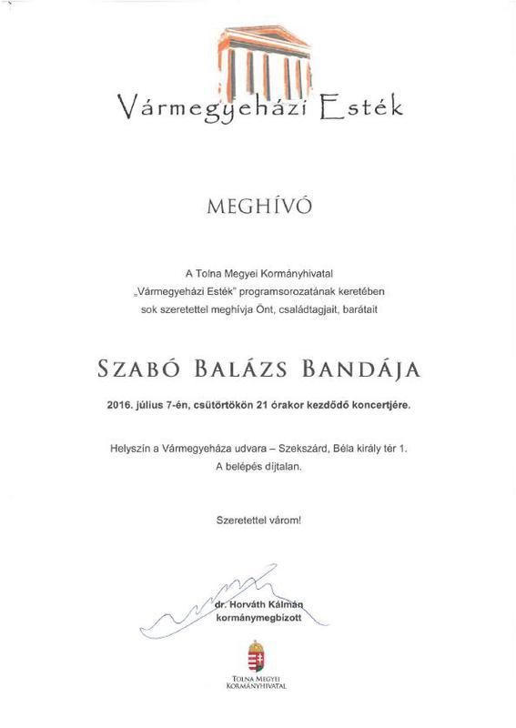 Szabó Balázs és bandája koncert Szekszárdon