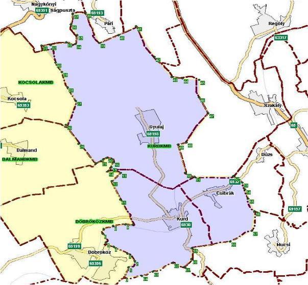 KMB működési körzethez tartozó települések