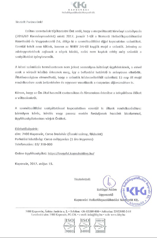 Tájékoztatás-Kaposvári Hulladékgazdálkodási Nkft.