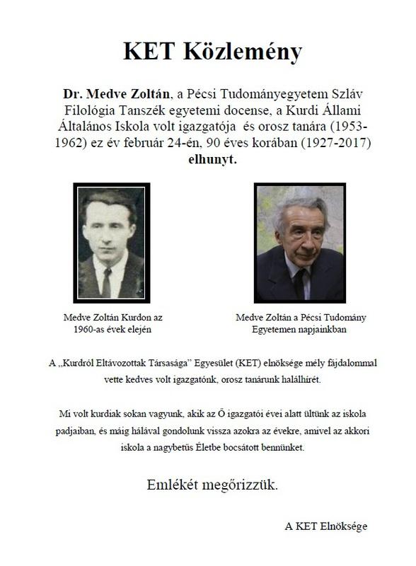 Gyászjelentés Medve Zoltán