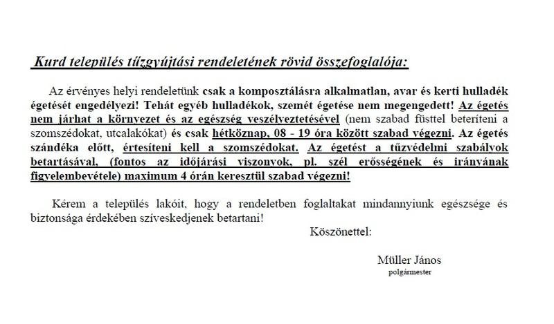 Kurd település tűzgyújtási rendeletének rövid összefoglalója