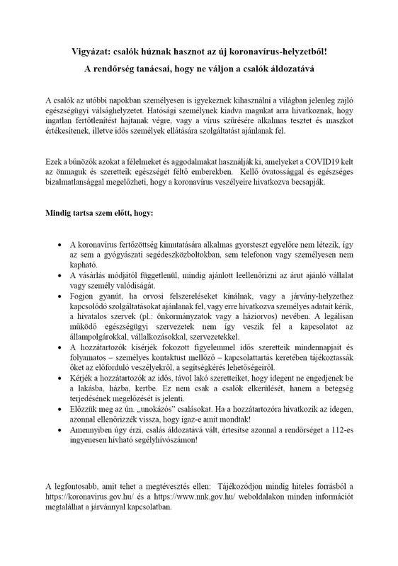 elbir 0401 koronavírus csalók