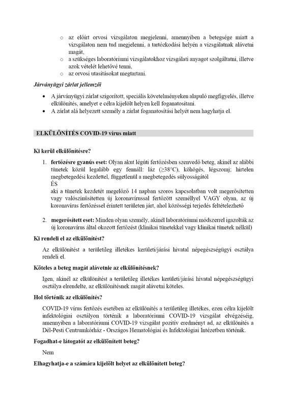elkülönítés, járványügyi mgfigyelés és önmegfigyelés 2