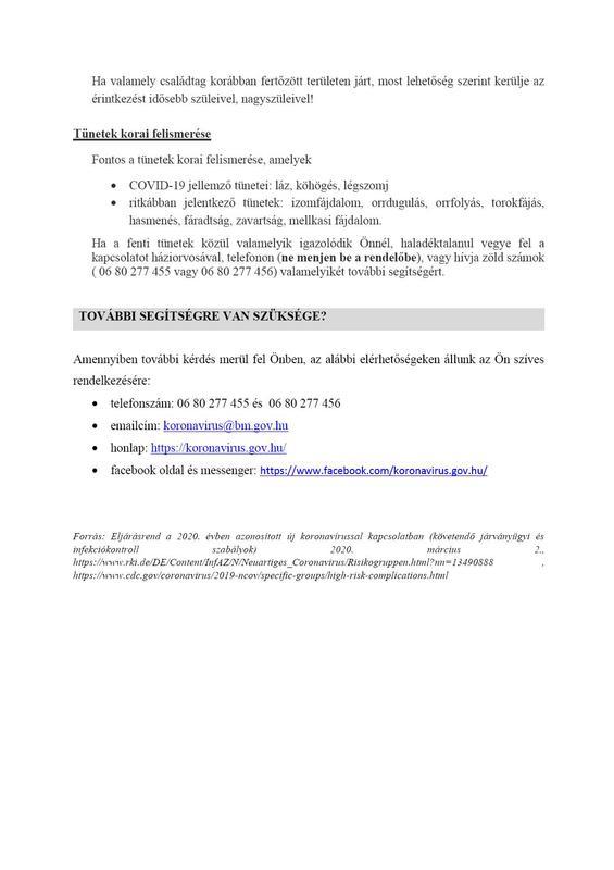 óvintzkedések magasab kockázatú betegcsoportok számára3