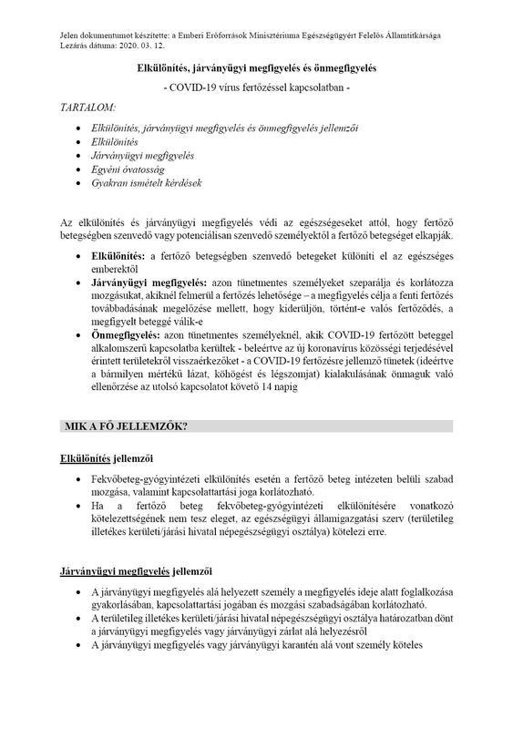 elkülönítés, járványügyi mgfigyelés és önmegfigyelés 1