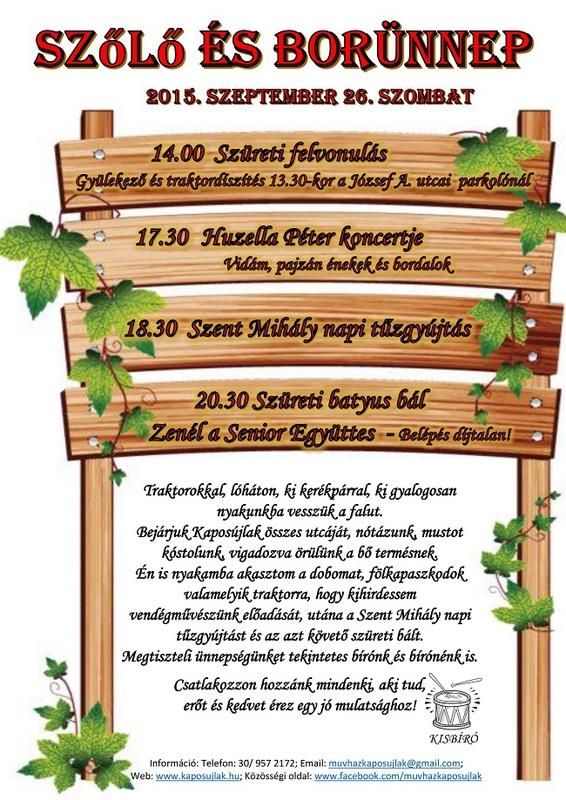 Szőlő és Borünnep 2015. plakát