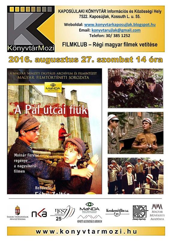 KönyvtárMozi - Pál utcai fiúk - plakát