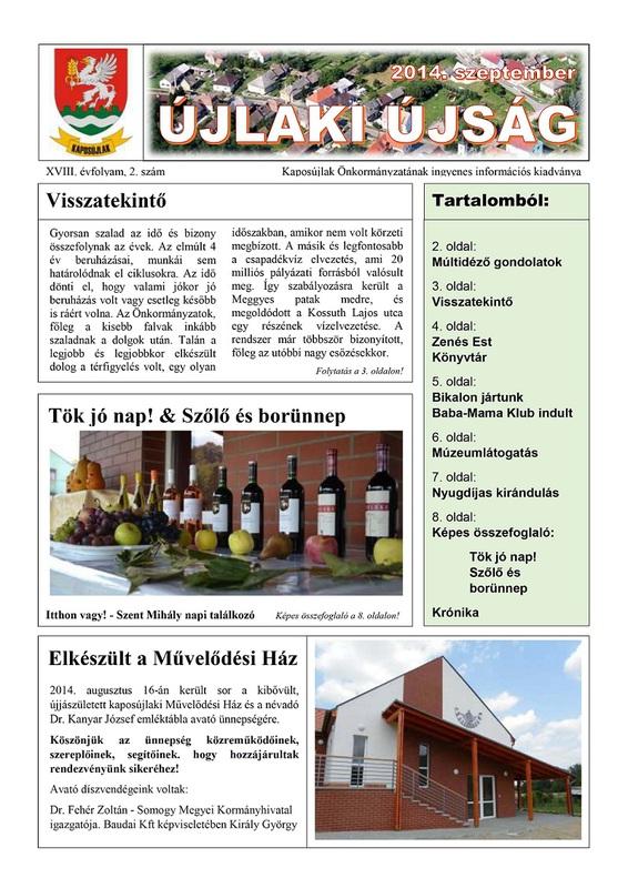 Újlaki Újság - 2014 szeptember 1. oldal
