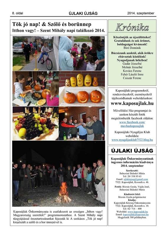 Újlaki Újság - 2014. szeptember - 8. oldal