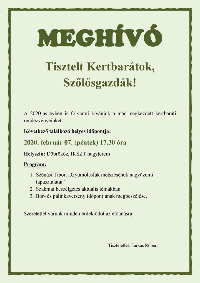 Kertbarátkör 2020.02.07