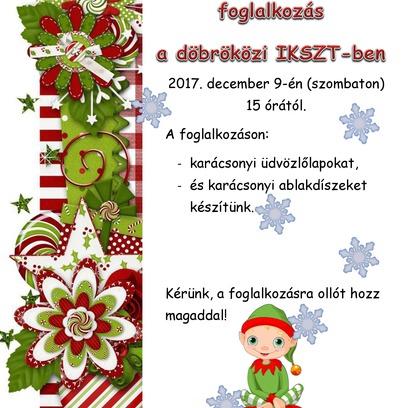 Karácsonyi kézműves foglalkozás az IKSZT-ben