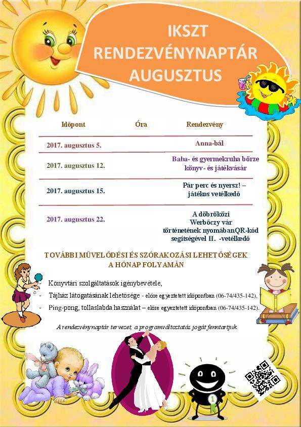 Az IKSZT 2017. augusztusi programjai