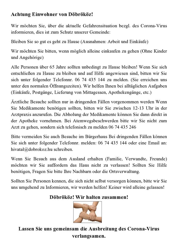 Német nyelvű szórólap